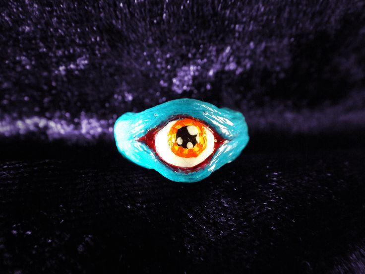 Introduce your child to the world of the gloriously strange with this bright and funky blue stare ring, made for tiny child fingers.  If your child is of the excitable hand washing type, gently remind them to take this off before they have their watery hand party.  US size 2 ½  Sculpted fro... #wearable #art #handmade #alternative #jewellery #jewelry #fashion #strange #epheria #epheriadesign