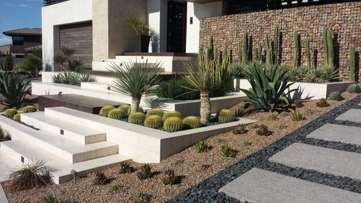 mur gabion cactus agave et all e en ardoise terrassement pente douce du jardin moderne. Black Bedroom Furniture Sets. Home Design Ideas