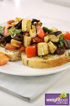 Healthy Entertaining Recipes: Bruschetta with Eggplant and Tomato. #HealthyRecipes #DietRecipes #WeightlossRecipes weightloss.com.au