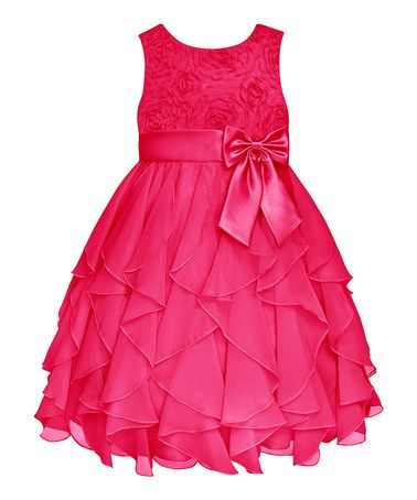 Loving this Watermelon Rosette Ruffle Dress - Infant, Toddler & Girls on #zulily! #zulilyfinds