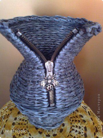 Поделка изделие Плетение Принимайте и мой кувшинчик- джемперок  Трубочки бумажные фото 6