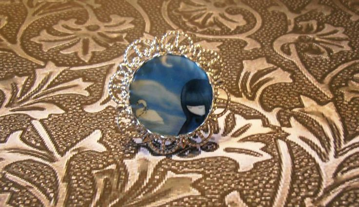 Handmade Jewelry Laminated Baroque Metal Silver Cameo Photo Santoro Gorjuss Illustration Ring by Venus Treasures !