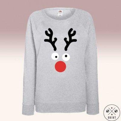 Damska bluza z nadrukiem renifera. Idealna na prezent świąteczny. Sweatshirt with raindeer ideal for christmas present www.ddshirt.pl