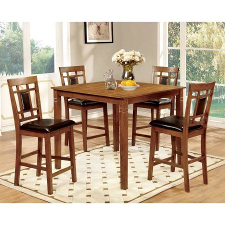 Furniture of America Malvin Industrial 5-Piece Counter Height Table Set, Light Oak