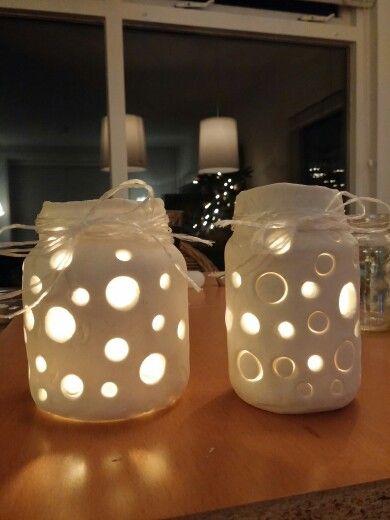 Lantaarntjes gemaakt met witte klei!