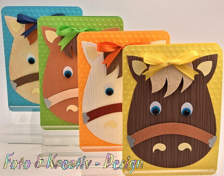 Einladungskarten - Pferde - Einladung (1) - Set / 4 Stk. - ein Designerstück von Foto-und-Kreativ-Design bei DaWanda
