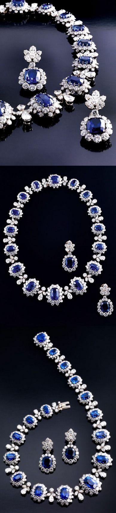 Diamond & sapphire necklace & earrings, Bulgari.