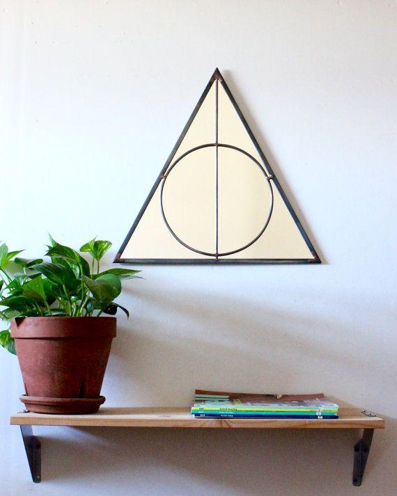 Triangle Circle Wall Mirror Geometric / Large Handmade Wall