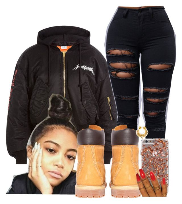 """Get Ya Weight Up "" by melaninprincess-16 ❤ liked on Polyvore featuring Vetements, Timberland and NLY Accessories"
