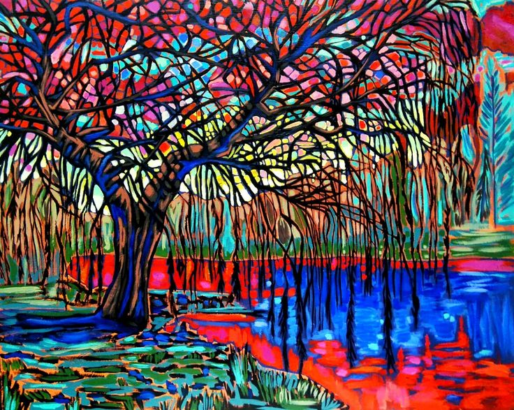Stained Glass Willow Tree captured in oils by Jennifer Prevost