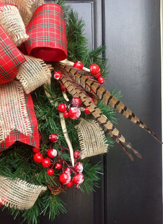 Antler pheasant feather and plaid christmas wreath for Antler christmas wreath