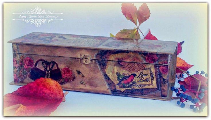 Jesienna skrzynka - stare listy wśród róż i ptaków - Decoupage.