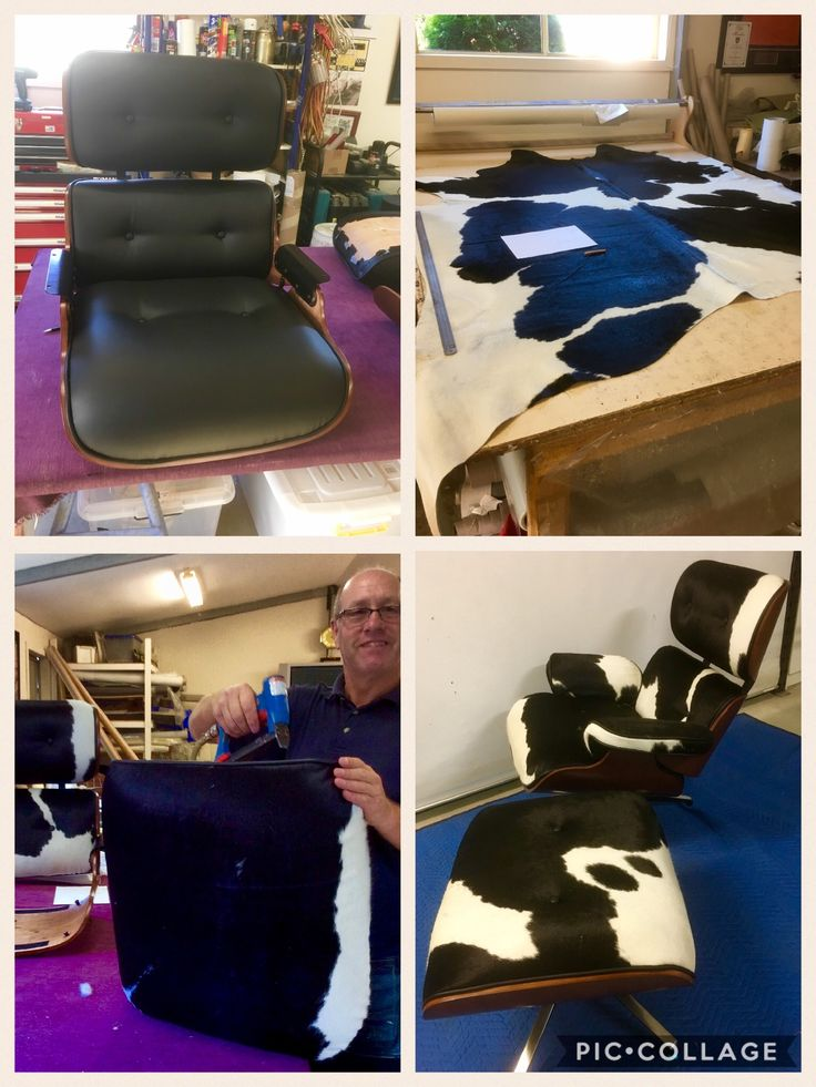 Eames chair reupholstered in genuine Cowhide ...