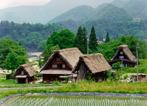 Historic Villages of Shirakawa-go and Gokayama (Japan).  Located in a mountainous region that was cut off from the rest of the world for a long period of time, these villages with their Gassho-style houses subsisted on the cultivation of mulberry trees and the rearing of silkworms
