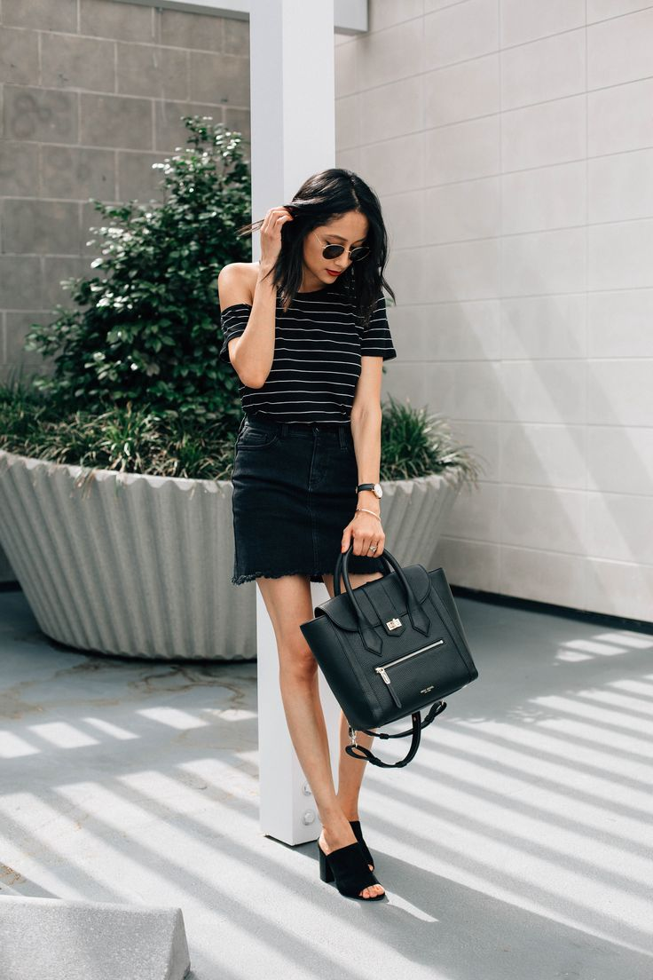 Effortless Style. Black denim mini skirt & striped t-shirt. Edgy outfit.