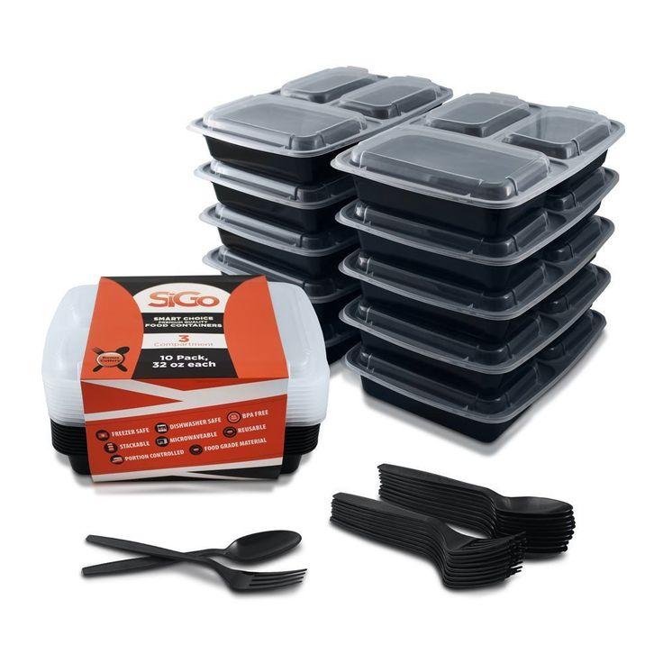 Microwavable Stackable, Reusable, Dishwasher & Freezer Safe Healthy Meal Prep 3 Compartment Food Storage Containers and Cutlery Pack of 10 Only 5 In Stock Order Today! Product Description: BONUS: EACH