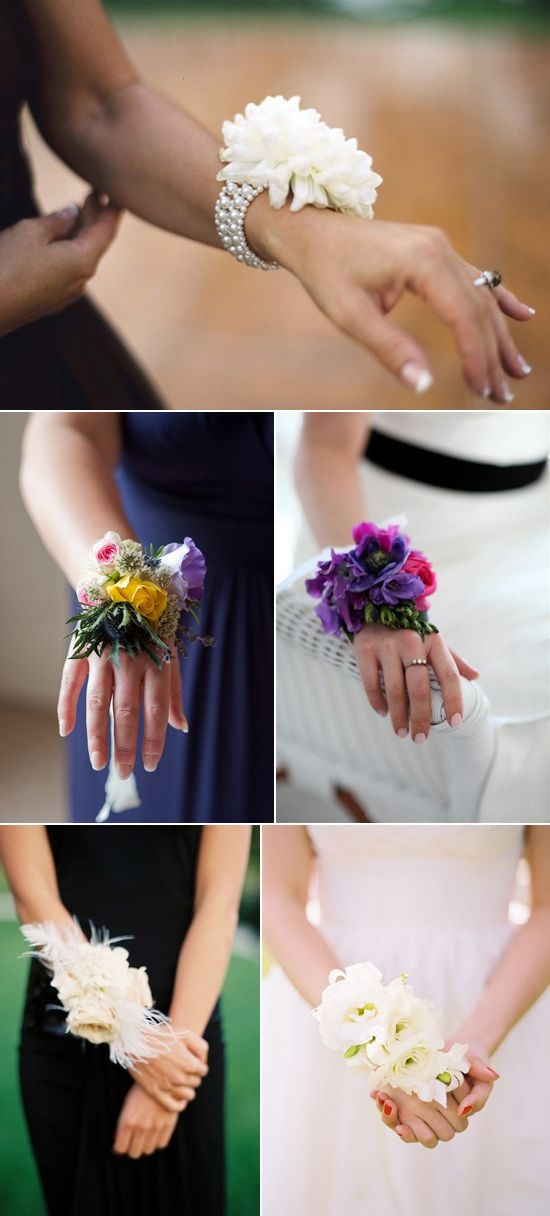 Use Bridesmaid Corsages instead of traditional bouquets. Made with some brooches to match the bouquets.