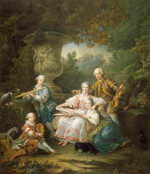 Le marquis de Sourches and family: Louis II du Bouchet (1711-1788), Marguerite-Henriette Desmarts de Maillebois (1721-1783), Louis Francois (1744-1786). Yves Marie (1749-1818), and Jeanne-Madelaine-Therese, future marquise de Vogue (1743-1765), 1756 by Francois-Hubert Drouais (1727-1775) (Chateau de Versailles):