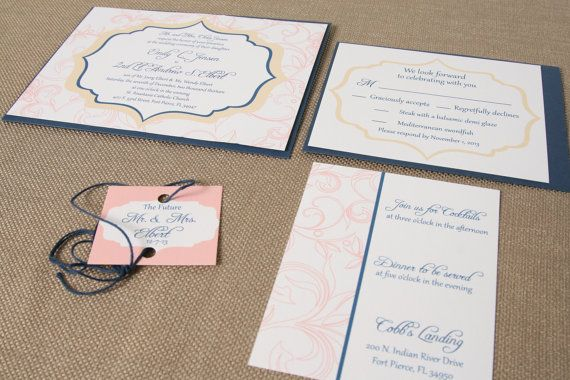 Navy Blue Pink and Gold Wedding Invitation Suite Classic