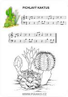 Cactus worksheet - music sheet for kids (piano)