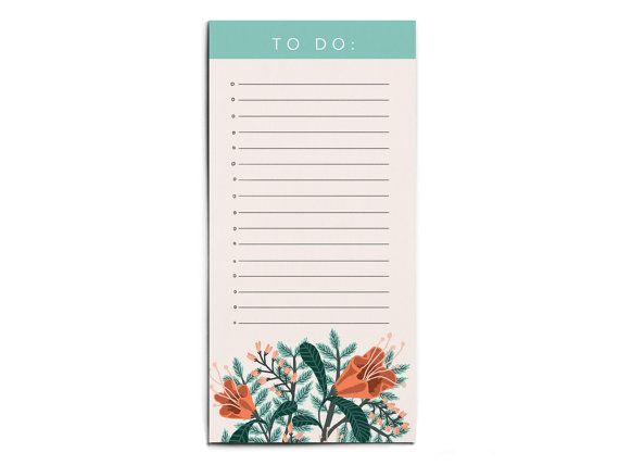 Floral Illustrated To Do List Pad by PapioPress on Etsy