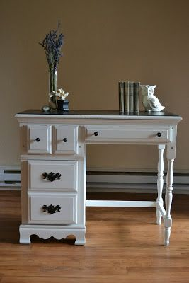 Would love a desk this shape... White refinished desk from Haus Artisans