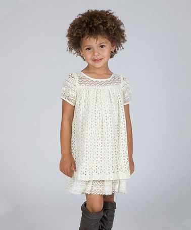 Look what I found on #zulily! Ivory Lace Ruffle Dress - Toddler & Girls #zulilyfinds