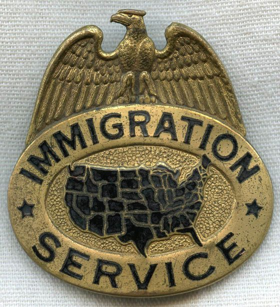 1930s United States Immigration Service Hat Badge Us