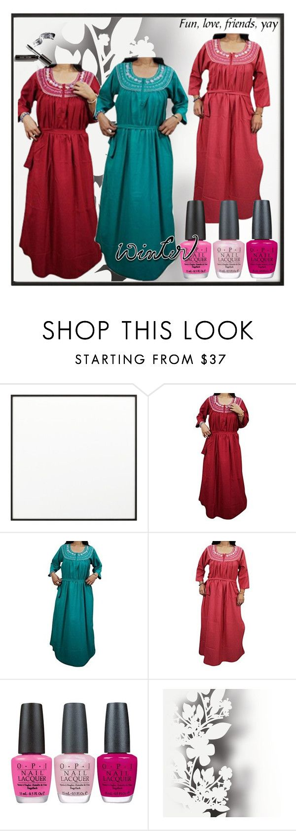 """""""COTTON WINTER MAXI DRESS"""" by lavanyas-trendzs ❤ liked on Polyvore featuring By Lassen, OPI, Élitis and Bobbi Brown Cosmetics"""