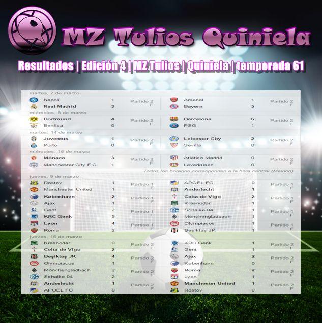 Resultados | Edición 4 | MZ Tulios | Quiniela | temporada 61 https://mztulios.wixsite.com/quiniela