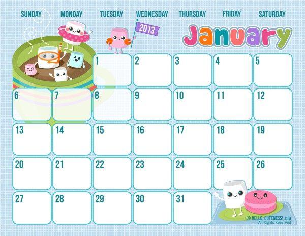 Cute January 2020 Calendar Printable Wallpapers Hd Kids Calendar