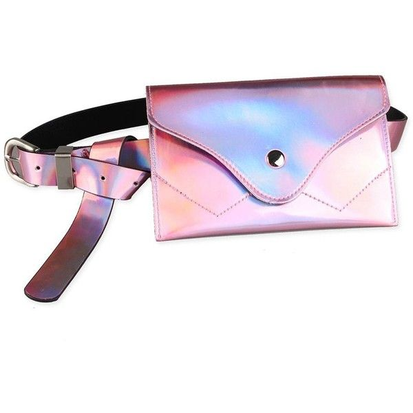 Pink Fanny Pack Embellished Faux Patent Leather Skinny Belt ($8.84) ❤ liked on Polyvore featuring accessories, belts, pink belt and embellished belt
