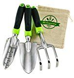 3-Piece Gardening Tool Set from Homegrown Garden Tools; Large Ergonomic Handles; Trowel Transplanter & Cultivator with Burlap Tote Sack; Best for Lawn & Garden Care; Makes Great Gift