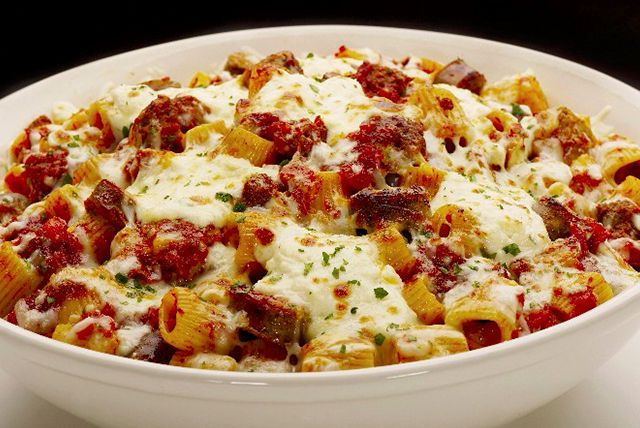 Rigatoni, ground beef and spaghetti sauce are the makings of the ...