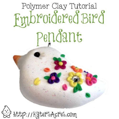 Polymer Clay Tutorial Embroidered Bird Pendant by KatersAcres, $5.50