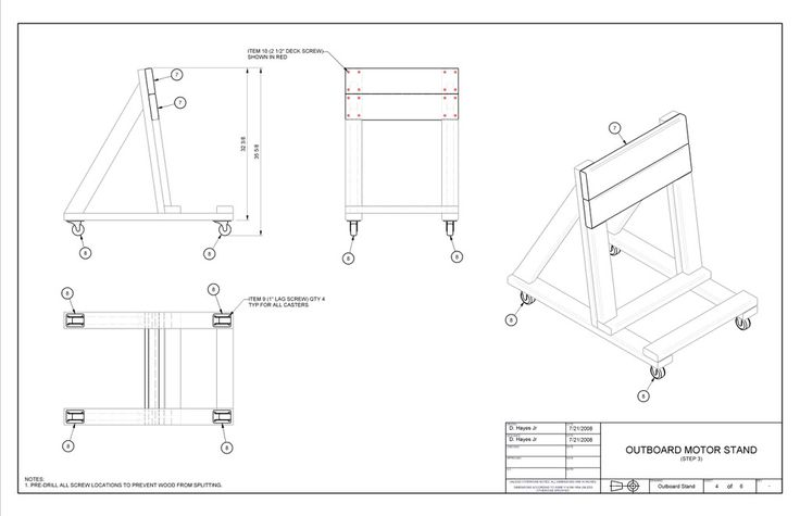 Building an o b motor stand instructional 273327 page for Large outboard motor stand