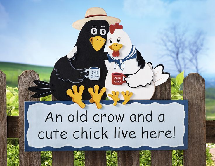 Old Crow And Cute Chick Live Here Country Outdoor Fence