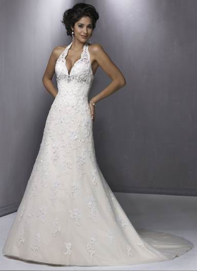 Sexy Halter V-Neck Empire Wasit Applique Beads Working Lace Satin Chapel Train Bridal Frock
