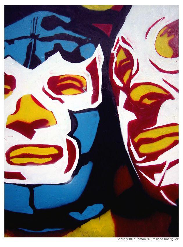 Blue Demon & El Santo  #luchadores #mexico #poster #wrestler #mexican