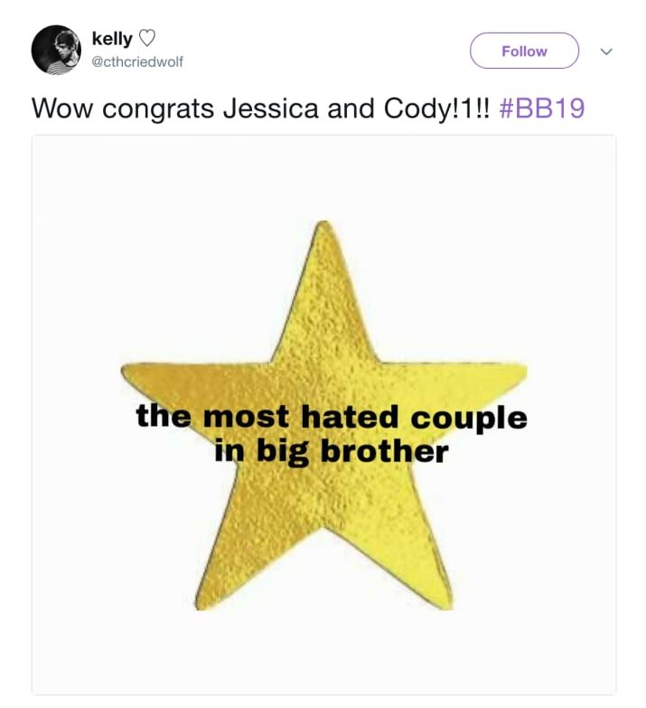 """25 Hilariously Savage Tweets About Jessica And Cody's """"Big Brother"""" Showmance"""