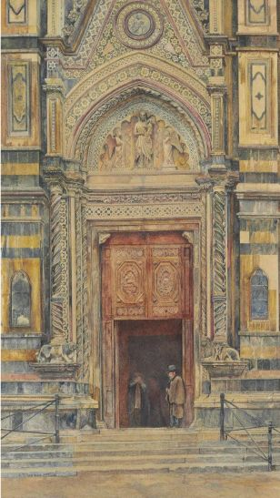 """Duomo, Florence,"" Henry Roderick Newman,   1879, watercolor on paper, 21 x 12"", private collection."