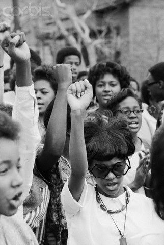 Another photograph of African-American women protesting for civil rights.