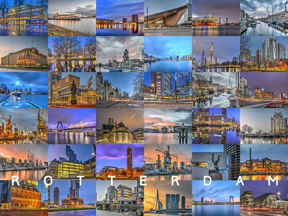 Rotterdam - De Randen van de Nacht - Deze collage van 36 foto's bevat tal van bekende gebouwen in de Maasstad: De Erasmusbrug, de Rotterdam, de Markthal, het Centraal Station, de Doelen, Het Witte Huis, Hotel New York, de Laurenskerk, het Timmerhuis. En, hoe kan het ook anders in de grootste haven van Europa, veel havens , kades en schepen.