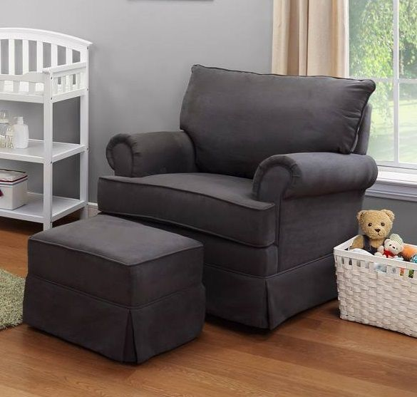 Thomasville Kids Upholstered Glider and Ottoman in gray. - 23 Best Take A Seat: Gliders And Ottomans Images On Pinterest