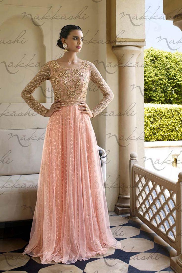 Designer salwar kameez mesmeric peach color net designer suit - Red Georgette Anarkali Salwar Kameez With Dupatta