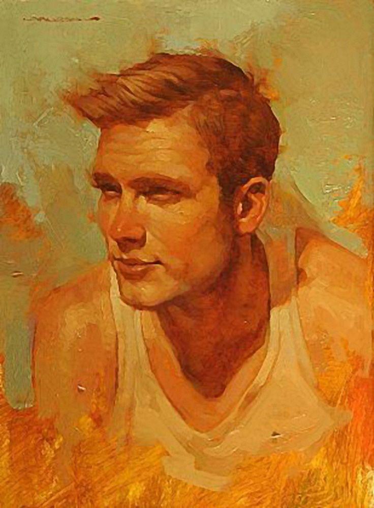 Artist: Joseph Lorusso (b. 1966), oil on panel {figurative #impressionist art male head red orange man face portrait painting #loveart} josephlorussofineart.com