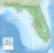 Carte topographique de la Floride.