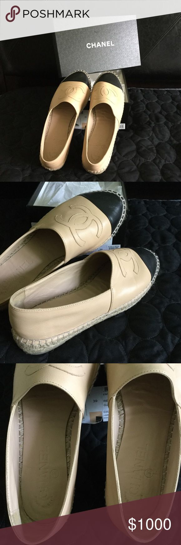 💯% AUTHENTIC CHANEL ESPADRILLES BEIGE/BLACK SOLD OUT in Boutiques▪️Lambskin Beige/Black Chanel Espadrilles ▪️ Size 39 ▪️ worn once ▪️Firm on price ▪️No trades CHANEL Shoes