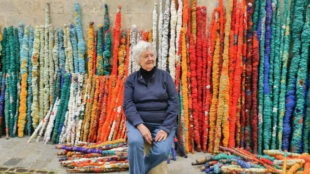 Sheila Hicks, seen in 2015, admits to being a bit of a scavenger, who likes being open to using unconventional materials in her work. in front of elements from The Treaty of Chromatic Zones, 2015. Photo by Cristobal Zanartu.