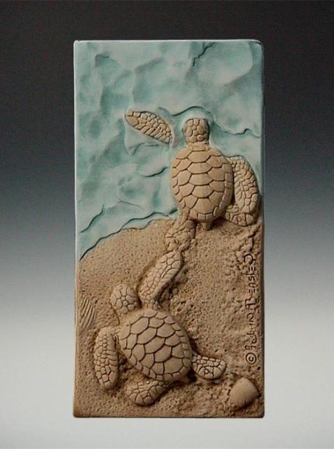 Schildkröten am Meer auf Keilrahmen